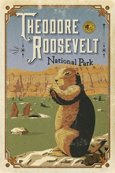 Roosevelt National Park is established. National Park Posters, Us National Parks, Parc National, Voyage Usa, Cozy Library, Theodore Roosevelt National Park, Decoupage, Plakat Design, Park Art