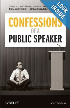 Great book on art of public speaking. Here  are my notes: People don't judge you during your talk as much as you think, because they don't care as much as you think. The drama is mostly in your mind. Avoid the mistake of trying to make no mistakes. All good public speaking is based on good private thinking. The easiest way to be interesting is to be honest. The best way to direct attention is to talk about situations that the audience care about. Don't eat the microphone.