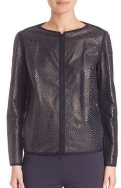 Lafayette 148 New York Anaconda Leather Jacket
