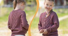 Sticka söt kofta med flätor – gratis beskrivning | Allas Drops Design, Handicraft, Knit Crochet, Pullover, Knitting, Sweaters, Tights, Jeans, Fashion
