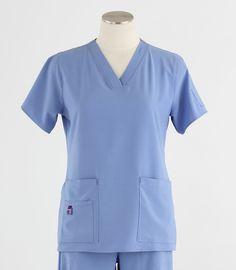aa2b3afb9fc Carhartt Womens Cross-Flex V-Neck Scrub Top Ceil Blue - Scrub Med $27.00