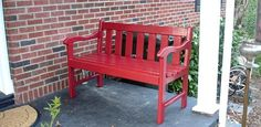 How to finish wood furniture for use outdoors.      Refinished red painted bench on porch
