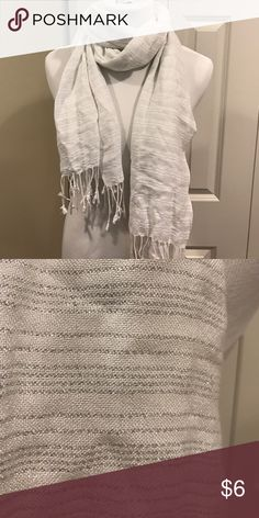 White And Silver Scarf This Scarf is in excellent condition. It is white with silver thread running through it and has fringe on the ends. PINK Victoria's Secret Accessories Scarves & Wraps