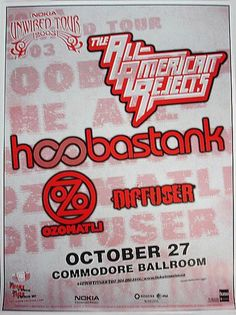 Original concert poster for All American Rejects and Hoobastank at the Commodore Ballroom in Vancouver, CA. 24 x 18 on thin glossy paper. Rock Posters, Concert Posters, Hoobastank, Rock Concert, Color Themes, Pavilion, Rock N Roll, Red Color, Vancouver