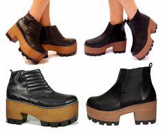 fotos de zapatos borcegos con taco - Buscar con Google Shoes Heels Boots, Heeled Boots, Shoes Sandals, Platform Boots, Shoe Collection, Fashion Shoes, High Heels, Hipster, Purses