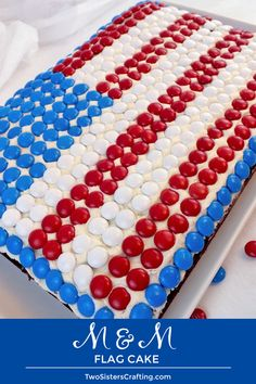 This M&M Flag Cake couldn't be easier to create and it is perfect dessert for a of July party or a Memorial Day BBQ. Fourth Of July Cakes, Fourth Of July Food, 4th Of July Party, July 4th, Patriotic Desserts, 4th Of July Desserts, American Flag Cake, Best Buttercream Frosting, Blue Food Coloring