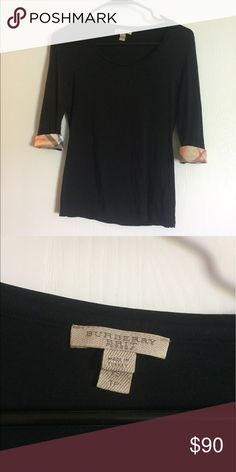 Burberry 3/4 length t shirt. Like new, worn twice and washed twice. Size xs Burberry Tops Blouses