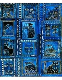 LAUREL BURCH Fabulous Felines Fabric Panel. Retired, OOP. Vivid Indigo, Blue Colors. Beautiful Detail, Gold Accents, 12 Boxes, Framed Cat Portraits. | eBay!