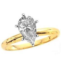 Diamantring im Tropfenschliff - 1.00 Karat G/VS - 585er Gelbgold