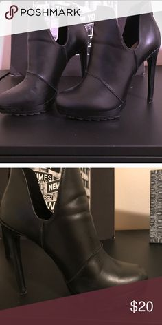 Black Zara booties Black Sky High Zara heels, worn once! Extremely tiny scuff as can see in pictures but nothing noticeable. Zara Shoes Heels