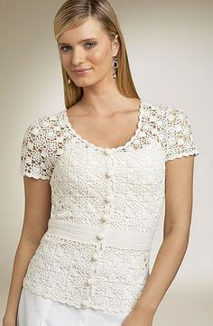 Hooked on crochet: White crochet top / Blusa branca de crochê