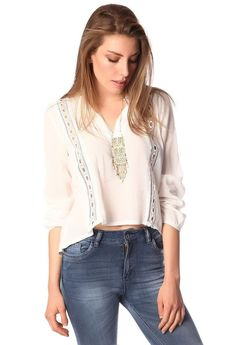 White V-neck blouse with crochet insert