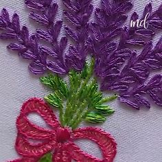 A lavender flower bouquet is the art in hand embroidery! By: Artesd'Olga Broderie et Couture HAND EMBROIDERY Hand Embroidery Videos, Hand Embroidery Flowers, Embroidery Stitches Tutorial, Flower Embroidery Designs, Creative Embroidery, Simple Embroidery, Sewing Stitches, Learn Embroidery, Crewel Embroidery