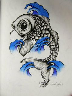 The Beauty of Japanese Embroidery - Embroidery Patterns Fish Drawings, Ink Pen Drawings, Animal Drawings, Koi Art, Fish Art, Koi Tattoo Design, Koi Fish Tattoo, Japanese Dragon, Japanese Embroidery