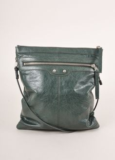 Dark Green and Silver Toned Flat Leather Crossbody Bag
