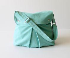 Modular Messenger Bag in Aqua Blue / Shoulder Bag / Laptop Bag / Diaper Bag / Travel Bag / Pleated Bag with flap and adjustable strap