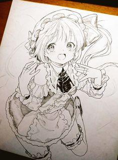 Anime Drawings Sketches, Anime Sketch, Kawaii Drawings, Manga Drawing, Manga Art, Art Anime, Anime Chibi, Anime Art Girl, Unique Drawings