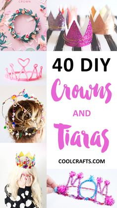 Make your own crown station Crowns and tiaras are perfect for fancy dress and birthday parties. Check out our list of 40 DIY crown and tiaras that you can create for your next party. Diy Tiara, Diy Birthday Crown, Girl Birthday, Birthday Parties, Birthday Crowns, Diy Birthday Headband, Princess Crafts, Princess Tea Party, Princess Party Activities