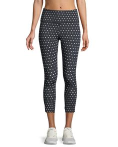 KATE SPADE POLKA-DOT SCALLOP CROP LEGGINGS. #katespade #cloth #
