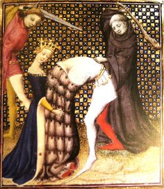 "F. 57. Murder of Agamemnon. Paris, 1403. From ""Illuminating Fashion: Dress in the Art of Medieval France and he Netherlands, 1325-1515."""