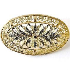 Gold Over Sterling Silver & Marcasite Brooch By Alice Caviness Germany.