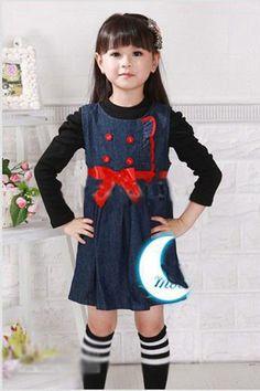 baby girls dress blue denim frock Toddler girls dress high quality imported children clothing Princess vestidos infantis menina