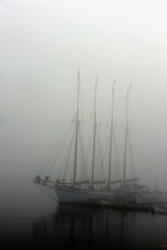 Isabeau Grey: There is a quiet, lonely and soulful beauty about ships on a calm sea veiled in a diaphanous mist.