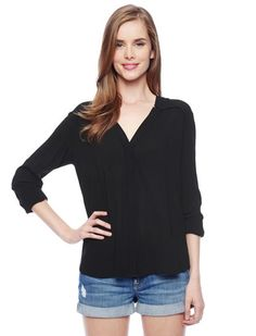 Elegant and effortless staple top 	Updated shirting silhouette 	Luxuriously soft, feminine fabric