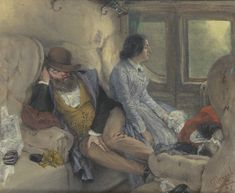 In a Railway Carriage (After a Night's Journey) by Adolph Menzel, 1851