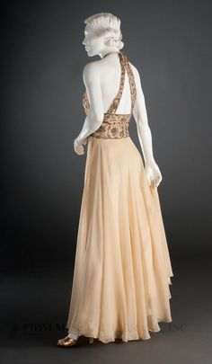 Chiffon evening gown with embellished embroidered bodice by Madeleine Vionnet, c. 1936-1938