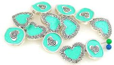 6 Heart  2 Hole Slider Beads 11132 by MobileBoutiqueshop on Etsy