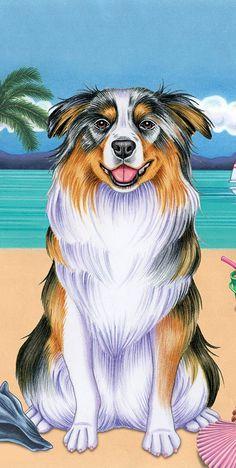 Australian ShepherdAussie Malamute Landscape and Watercolor Dog Life is Better Microfiber Kitchen Tea Towel Set of 2