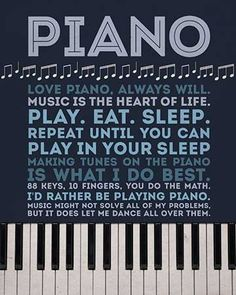 Fun, whimsical art print. A nice gift for any piano player. Great for home or studio decor. ~ store.drumbum.com