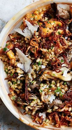 Barley salad with butter basted mushrooms