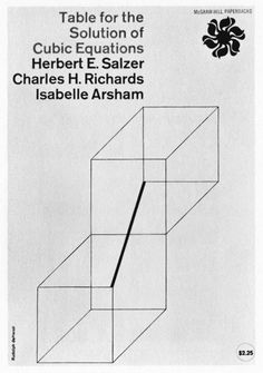 Table for the Solution of Cubic Equations, cover design by...