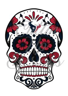 Houston Texans Sugar Skull SVG Cutting file for Cricut or Cameo (Designer Edition) Great for shirts!  Easy to cut and easy to layer by CuttinUpGifts on Etsy