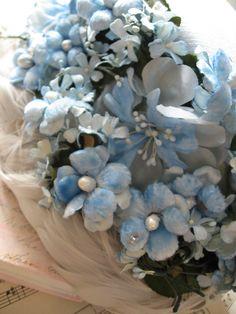 lovely vintage blue flowers hat
