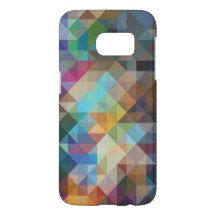 Funky Purple Blue Orange Pink Triangles Pattern Samsung Galaxy S7 Case