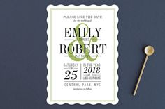 """""""Wed in Type"""" - Modern, Bold typographic Save The Date Cards in Moss by Ariel Rutland."""
