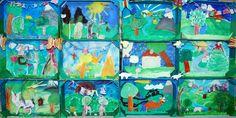 Schmetterlinge und Blumen aus Pappmachee, eine Frühlingswiese als Gemeinschaftscollage, Kirschblütenaquarelle mit Deckfarben gemalt und eine Blumenwiese aus der Vogelperspektive sind Themen dieser Seite.