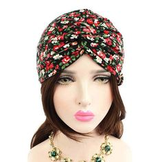 Fashion Knitted hat Women Floral Printed Cancer Chemo Hat Knit Fashion 115e23b9815b