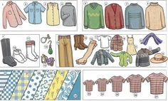 Describing clothing, material, patterns, and patterns vocabulary in PDF
