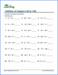 √ Addition Of Integers Worksheet . 22 Addition Of Integers Worksheet . Pin by Kimberly Gonzalez On Worksheets Grade 6 Math Worksheets, Cursive Writing Worksheets, Free Printable Math Worksheets, Teacher Worksheets, Addition Of Integers, Adding Integers Worksheet, Subtracting Integers Worksheet, Negative Numbers Worksheet, Word Problems