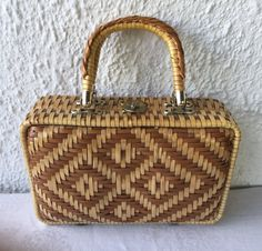 1960's vintage woven straw box bag by WorcesterMercantile on Etsy