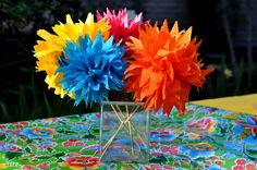 Cinco de Mayo Party Ideas: A Mexican Fiesta Birthday Bash! X marks the spot for pirate party Fiesta Party Centerpieces Tissue paper ironed . Paper Flower Centerpieces, Party Centerpieces, Paper Flowers, Tissue Flowers, Colorful Centerpieces, Forty Birthday, 40th Birthday Parties, Paper Tree Classroom, Party Fiesta