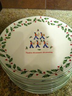 "Lenox Holiday Dinner plates ""Twelve Days of Christmas"". Love them!"