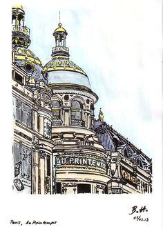 Paris, Au-Printemps - Tusche aquarelliert, ink watercolor, encre - 21 x 30 cm