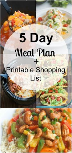 This free meal plan includes 5 easy, family-friendly dinners for your week and also includes a free printable shopping list! via @betrfromscratch