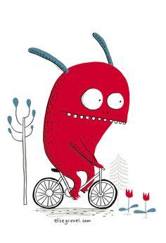 Monstre à vélo, Élise Gravel, http://surtonmur.com/
