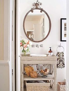 A reimagined bathroom vanity can change everything about the room. Transform your bathroom vanity with paint, new hardware, and plenty of creative inspiration. Find new ideas for your bathroom vanity makeover here. Diy Vanity Mirror, Diy Bathroom Vanity, Simple Bathroom, Bathroom Furniture, Vanity Ideas, Bathroom Ideas, Mirror Ideas, Bathroom Organization, Bathroom Inspiration